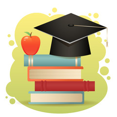 Traditional graduation hat, books and apple isolated