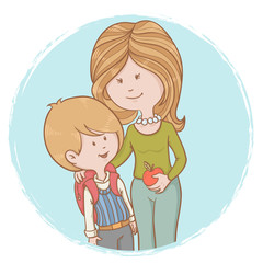 Mother and child pupil isolated characters