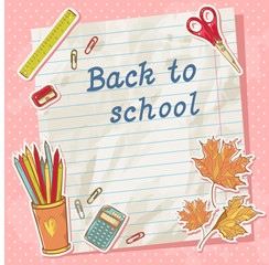 Back to school card on paper sheet with study items