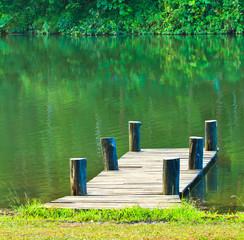 Wood bridge in the lagoon