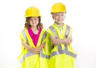 Cute Kids dressed as Young Engineers