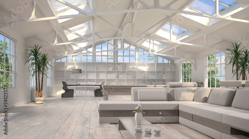White sunny loft with huge windows and furniture