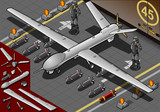 Isometric Drone Airplane Landed in Front View poster
