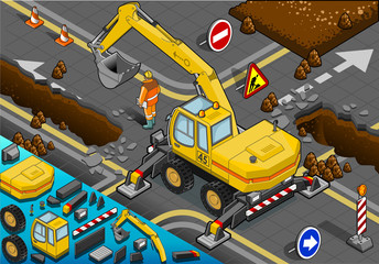Isometric Yellow Excavator with Four Arms in Rear View