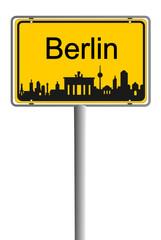 Ortsschild Skyline Berlin