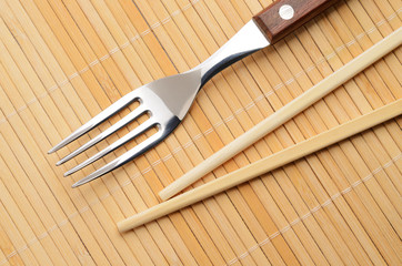 Chopsticks and a fork