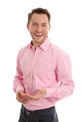 Erfolgreicher Geschäftsmann isoliert lachend mit Hemd