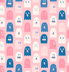 Seamless pattern with cute ghosts. Spooks background