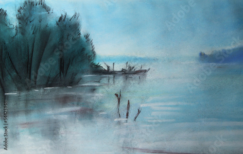 Mystical lake, drawn
