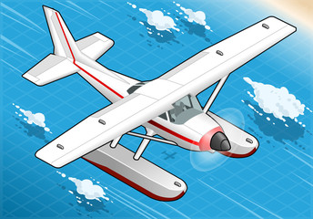 Isometric Flying Seaplane in Front View