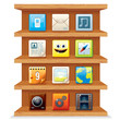 Wood Shelves with Computer Apps Icons. Vector