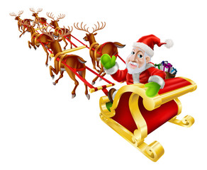 Cartoon Christmas Santa Claus Sled