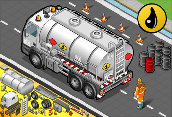 Isometric Liquid Tanker Truck in Rear View