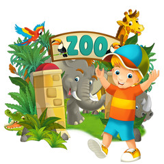 Cartoon zoo and children - banner illustration