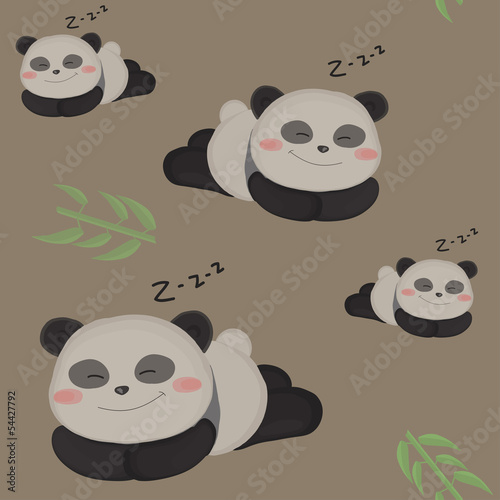 Sleepy little panda. Funny seamless children pattern