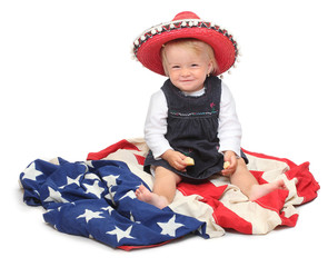 American kid on the flag.