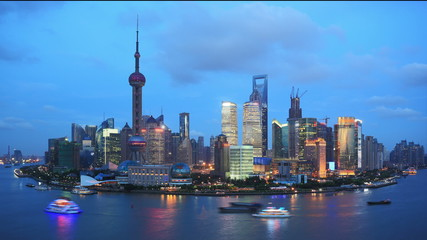 Shanghai skyline ,day to night, time lapse.