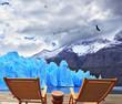 Two folding wooden chairs and  Perito Moreno glacier