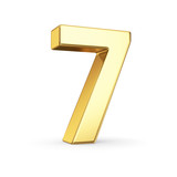 Fototapety 3D golden number 7 - isolated with clipping path