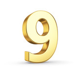 3D golden number 9 - isolated with clipping path
