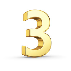 3D golden number 3 - isolated with clipping path