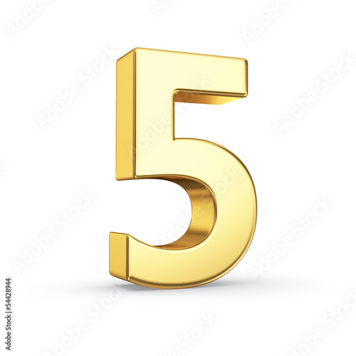 3D golden number 5 - isolated with clipping path