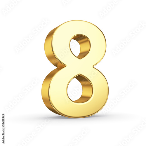 3D golden number 8 - isolated with clipping path