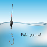 Fishing float and hook in water