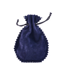 Blue suede pouch isolated