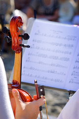 Violin and sheet music background
