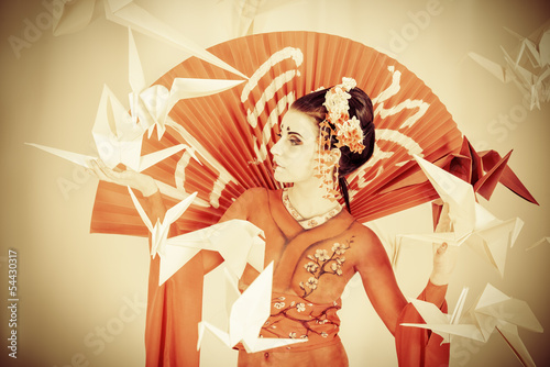 Fototapeten,ashtray,geisha,fan,body painting