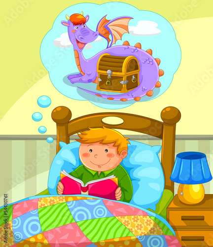 boy in bed reading a book about dragons
