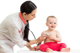 doctor examining smiling baby isolated on white