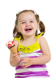 cheerful kid girl eating ice cream isolated