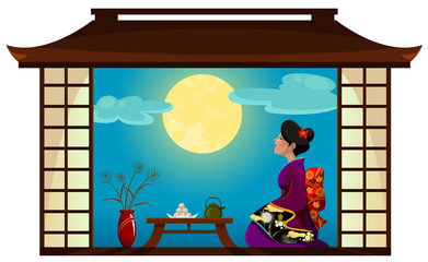 japanese woman watching the full moon