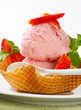 Pink ice cream in waffle basket