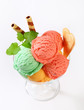 Fruit sherbets in ice cream coupe