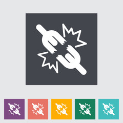 Broken connection flat single icon