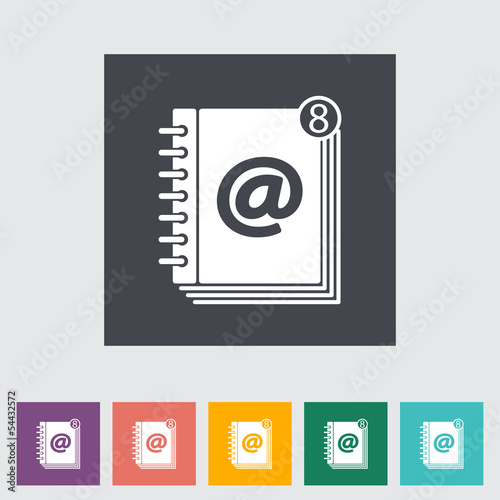 Contact book flat single icon.