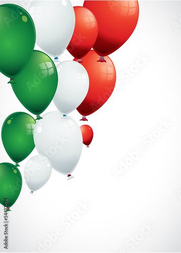 ballons rouges, verts, blancs, aux couleurs de l'italie