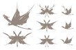 Set of dragons butterfly symbols in a retro style