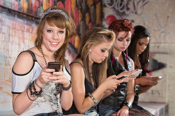 Smiling Teenager Texting