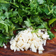 chopped garlic, parsley and cilantro