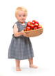 Farmer girl and red apples.