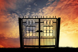 Gate silhouette at sunset