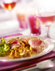 ham served with brocoli and chantarelles, served on a plate