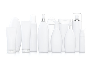 White cosmetic bottles