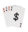 Word RISK on Playing Cards with Dollar Symbol