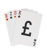 Word RISK on Playing Cards with Pound Sterling Symbol