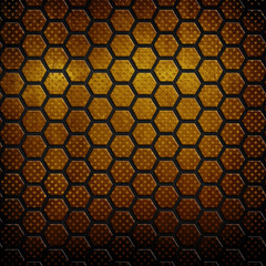 golden plate with honeycomb pattern